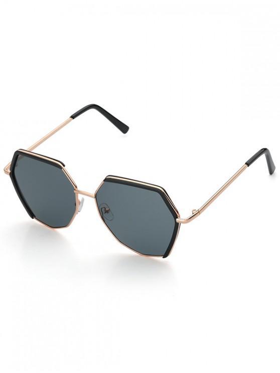 online Metal Street Irregular Sunglasses - BLACK
