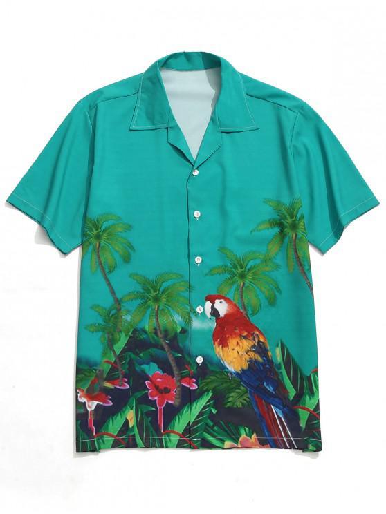 ladies Tropical Plant Parrot Print Beach Shirt - MULTI M