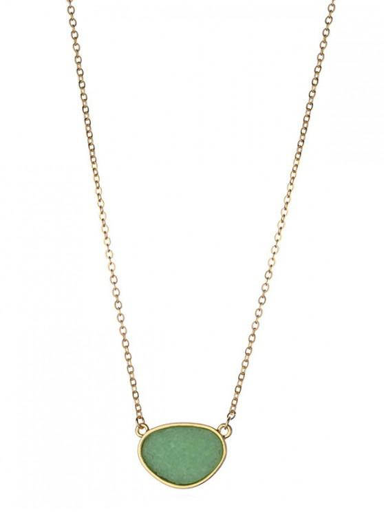 affordable Stone Geometric Pendant Necklace - CLOVER GREEN