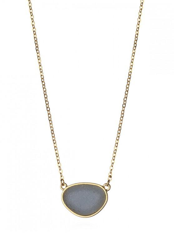 womens Stone Geometric Pendant Necklace - ASH GRAY
