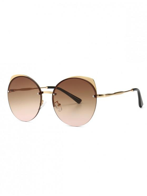 sale Semi-rimless Catty Eye Round Sunglasses - BROWN