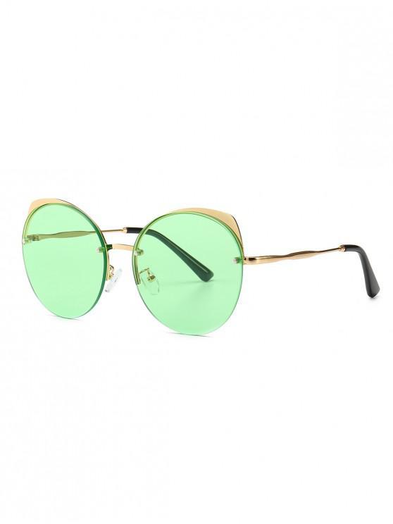 latest Semi-rimless Catty Eye Round Sunglasses - GREEN