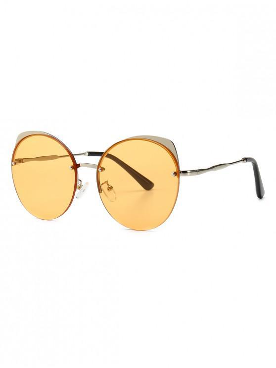outfits Semi-rimless Catty Eye Round Sunglasses - YELLOW