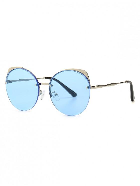 shop Semi-rimless Catty Eye Round Sunglasses - SKY BLUE