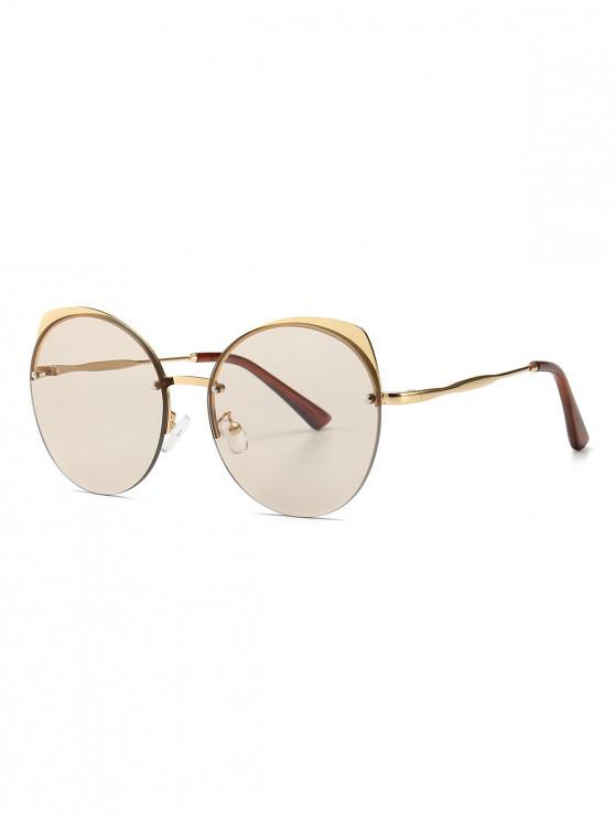 affordable Semi-rimless Catty Eye Round Sunglasses - CHAMPAGNE GOLD