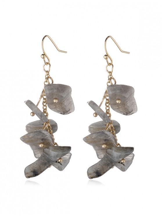womens Irregular Natural Stone Tassel Earrings - CARBON GRAY