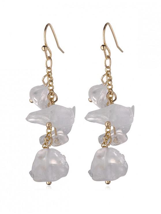 trendy Irregular Natural Stone Tassel Earrings - CRYSTAL CREAM