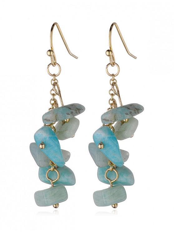 affordable Irregular Natural Stone Tassel Earrings - MEDIUM TURQUOISE