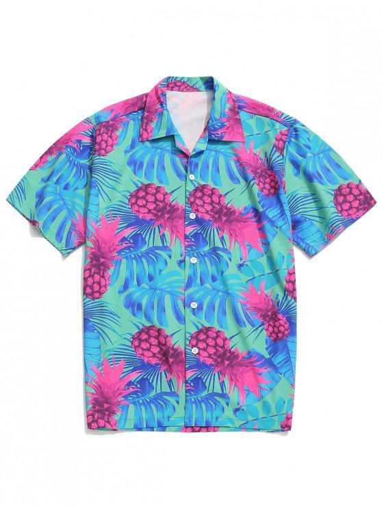 fancy Pineapple and Leaf Print Hawaii Beach Shirt - MULTI M