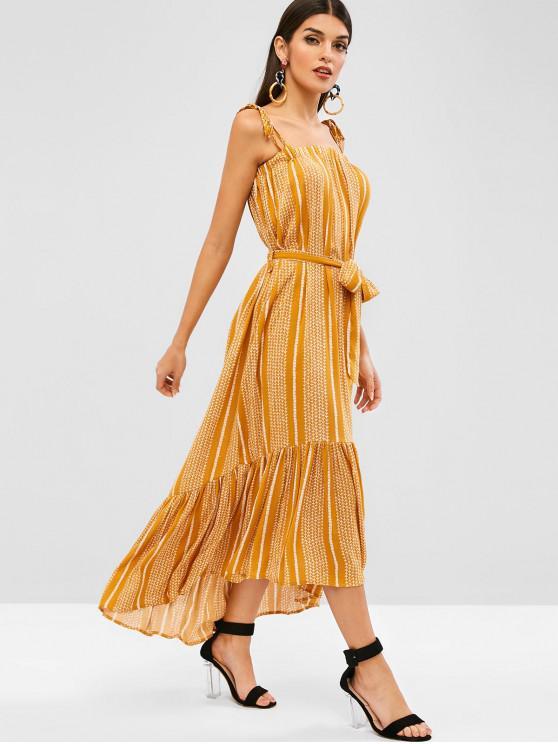 L Style Bretelle Robe Nouée BohémienJaune À Volants ymnwNPv08O
