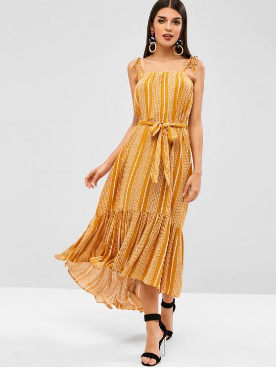 trendy Bohemian Tie Flounce Cami Dress - YELLOW L