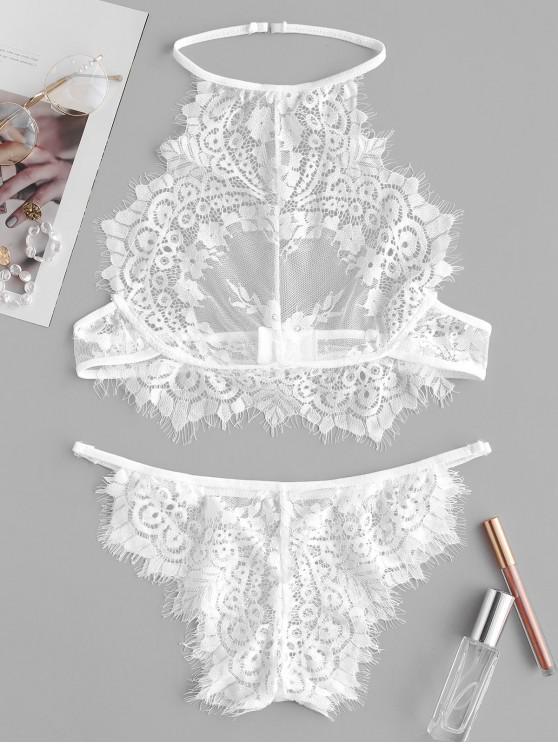 trendy Halter Lace Eyelash Lingerie Set - WHITE 3XL