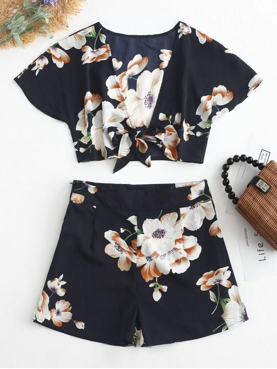 women's ZAFUL Tie Front Cropped Floral Top And Shorts Set - MIDNIGHT BLUE S