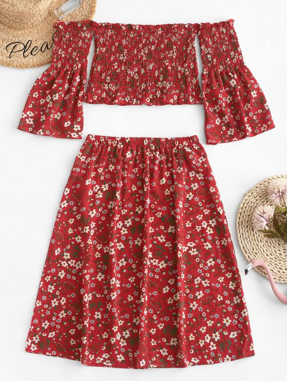 women's ZAFUL Smocked Off Shoulder Floral Top And Skirt Set - CHESTNUT RED L