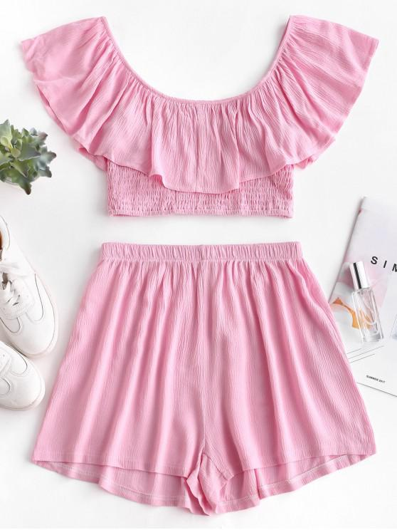 ladies ZAFUL Ruffles Smocked Cropped Top And Shorts Set - PINK L