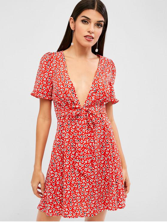 fancy ZAFUL Knotted Printed A Line Mini Dress - RUBY RED M