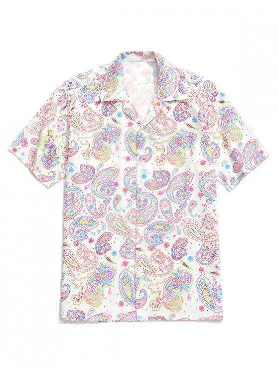 women Paisley Painting Print Short Sleeves Shirt - MULTI XL
