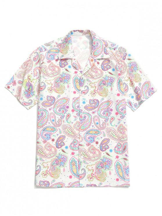 women's Paisley Painting Print Short Sleeves Shirt - MULTI 2XL