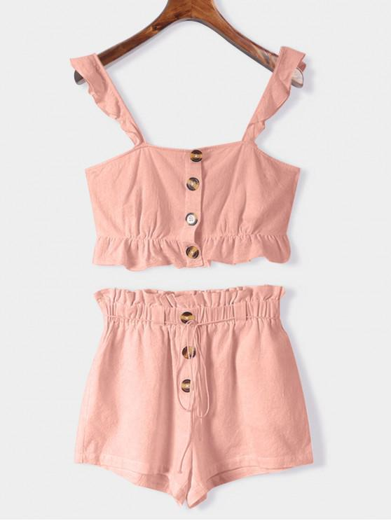 chic ZAFUL Ruffle Two Piece Set - PINK M