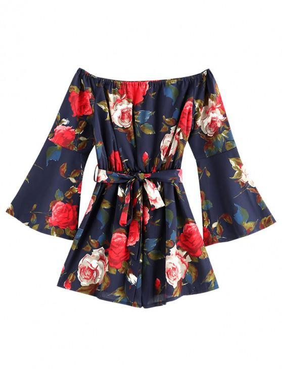 chic Flare Sleeve Flower Belted Romper - DEEP BLUE M