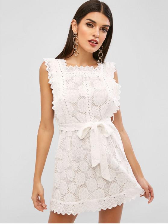 lady Belted Scalloped Mini Lace Dress - WHITE M