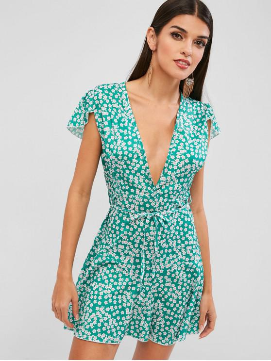 shops Back Zipper Belted Floral Mini Dress - GREEN S