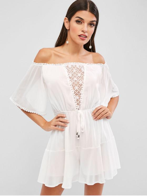 best Off Shoulder Mesh Panel Loose Romper - WHITE XL