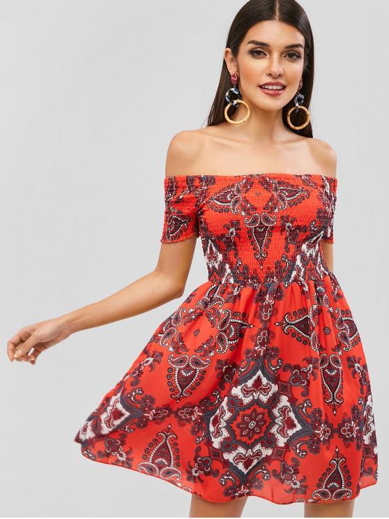 best Smocked Printed Off Shoulder Dress - RED M