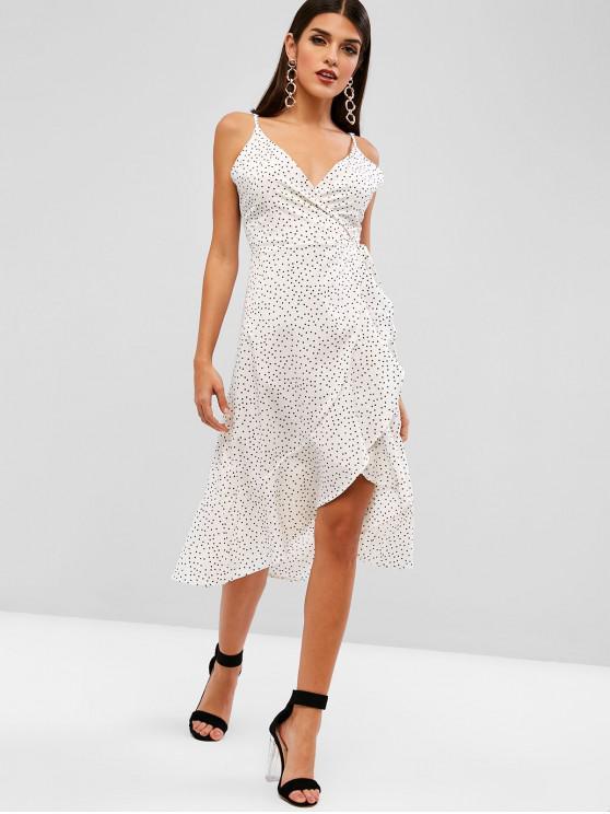 women's Dots Ruffles Wrap Asymmetrical Dress - WHITE S