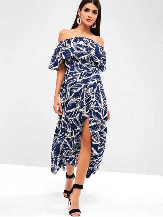 lady Overlay Leaves Print Slit Off Shoulder Dress - BLUE M