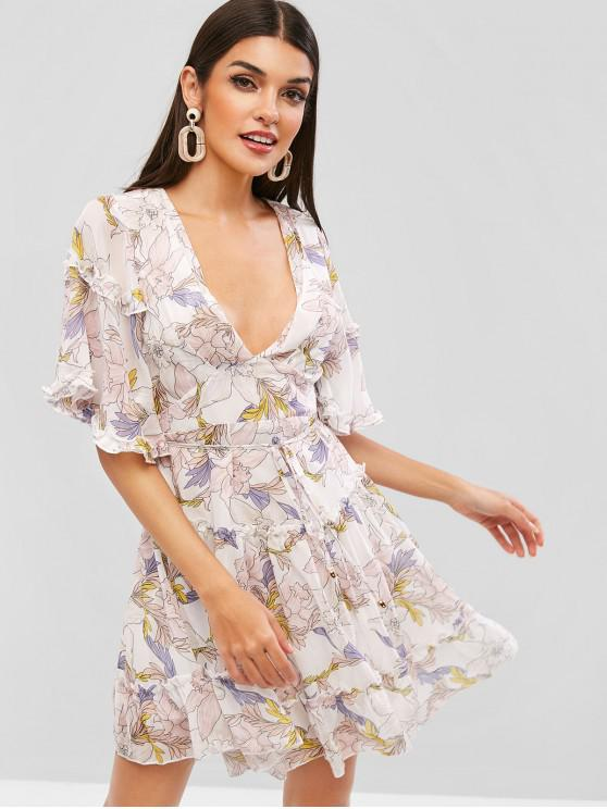 affordable Open Back Frilled Ruffles Floral Dress - MULTI L