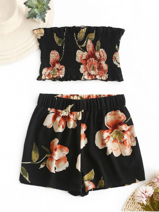 trendy ZAFUL Smocked Floral Bandeau Top And Shorts Set - BLACK S