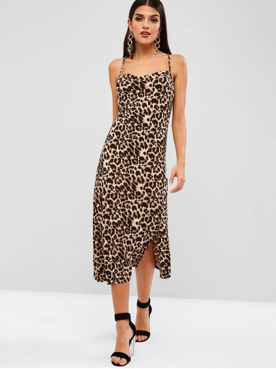 fashion Criss Cross Slit Leopard Cami Dress - LEOPARD M