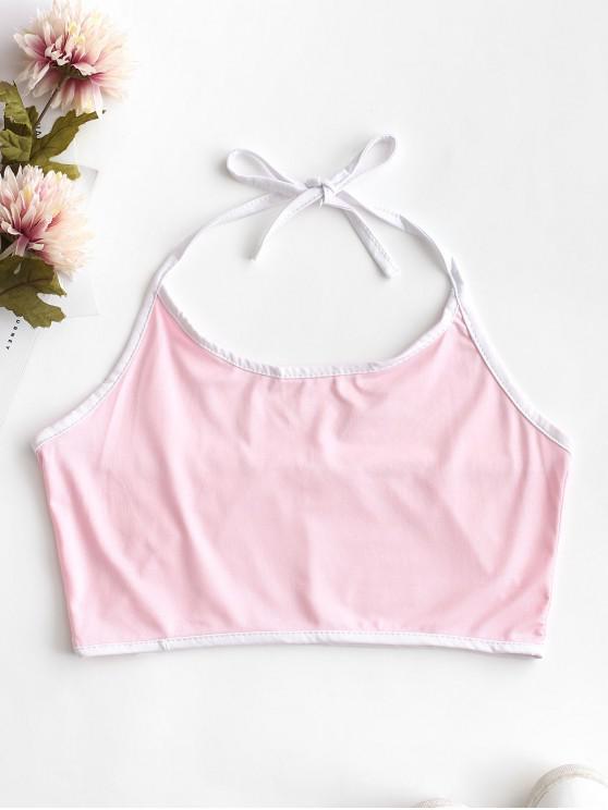 Neckholder-Kontrast-Trägerhemd - Schwein Rosa L