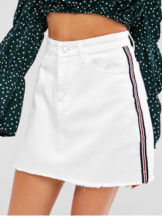 lady Frayed Hem Patched A Line Skirt - WHITE S