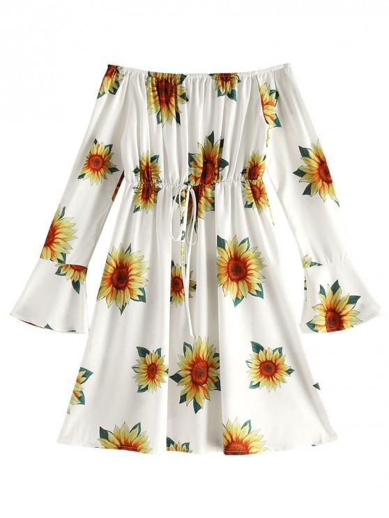 womens Off Shoulder Floral Print Flare Dress - GOLDENROD 2XL