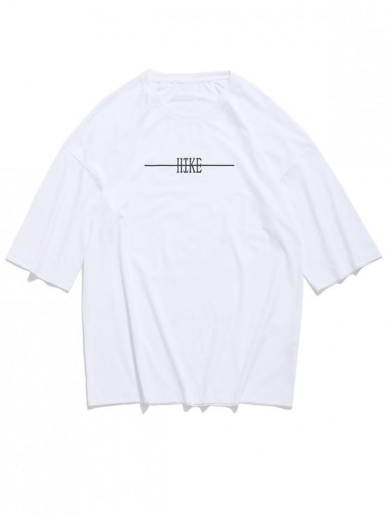 T-shirt épaule à lettre - Blanc M