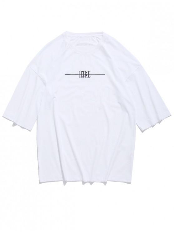 T-shirt épaule à lettre - Blanc 3XL