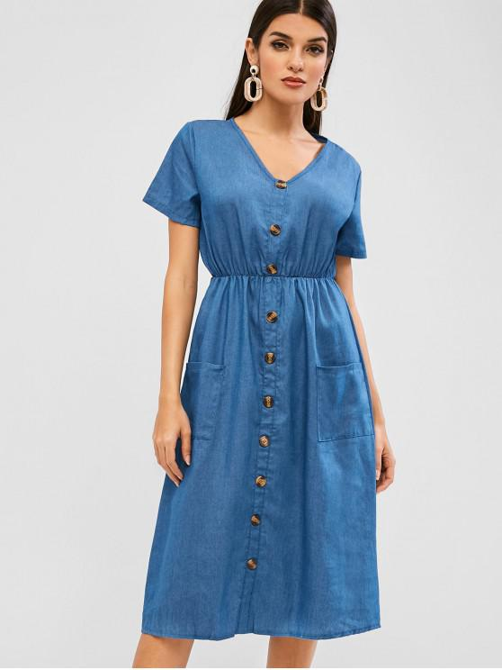 fashion Buttoned Pockets Chambray Casual Dress - DEEP BLUE L