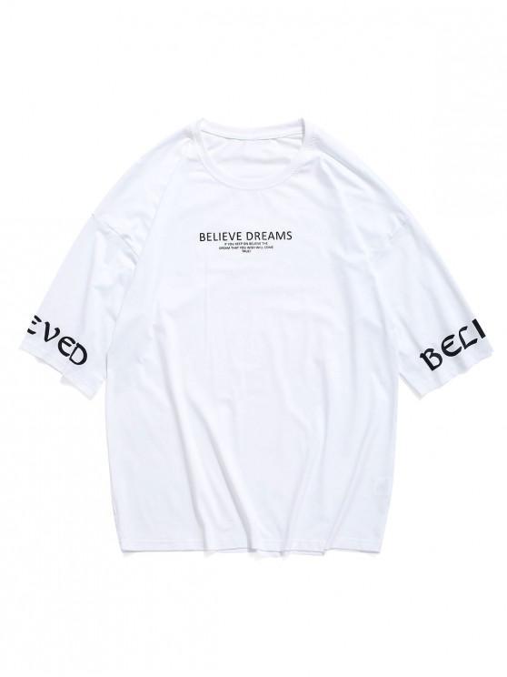 T-shirt Lettre Imprimée à Goutte Epaule - Blanc M