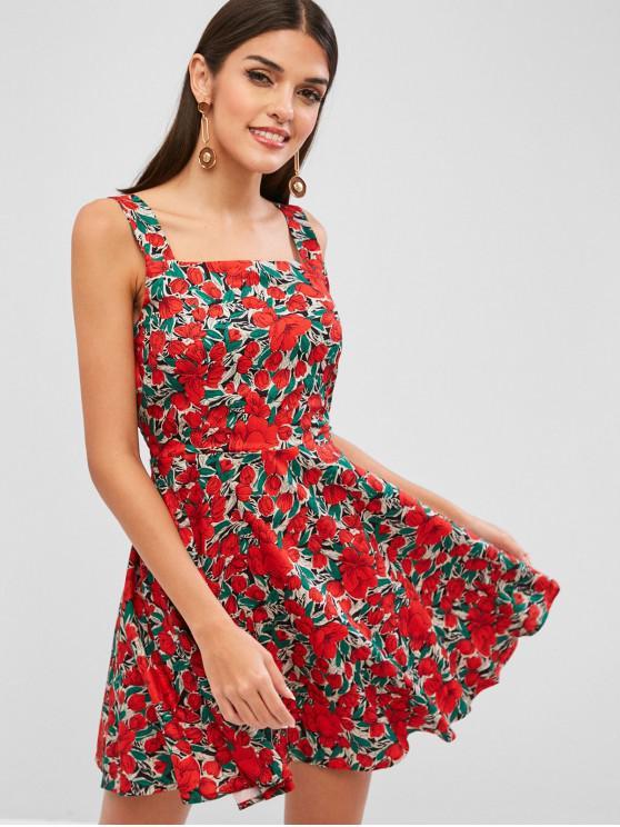 buy Floral Smock A Line Mini Dress - RED L