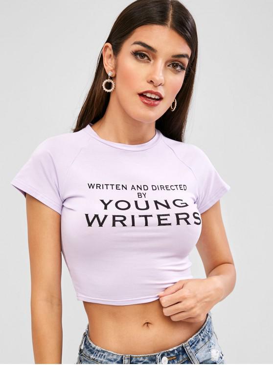 ladies Raglan Sleeves Letter Graphic Crop Tee - LAVENDER BLUE L