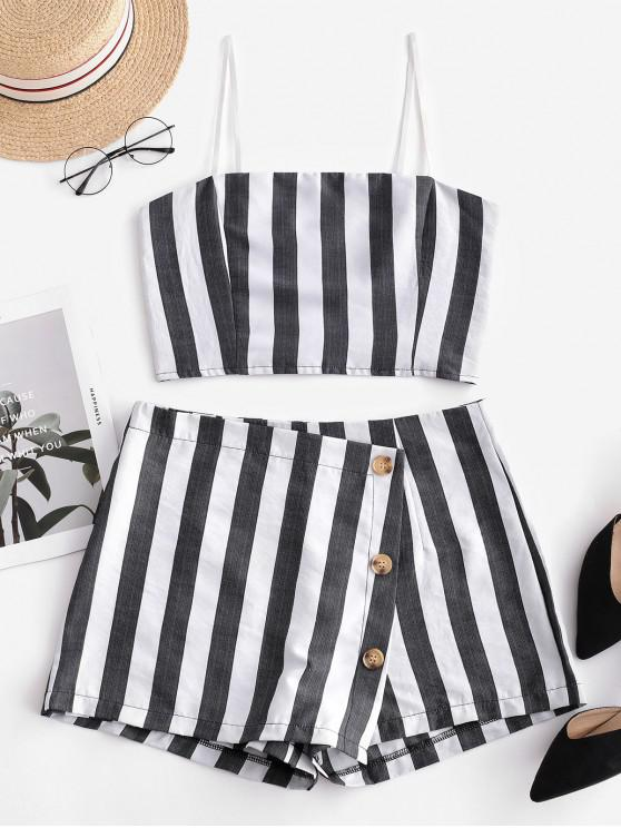 buy ZAFUL Smocked Crop Top and Buttons Shorts Set - DARK GRAY L