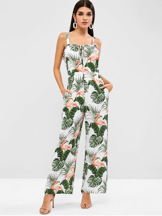 sale ZAFUL Palm Leaves Flamingo Wide Leg Jumpsuit - WHITE L