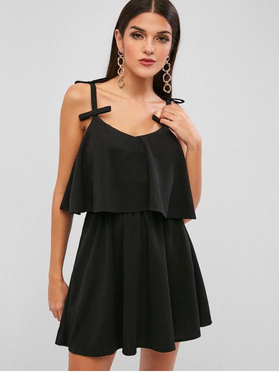 outfit Overlay Bowknot A Line Mini Dress - BLACK S