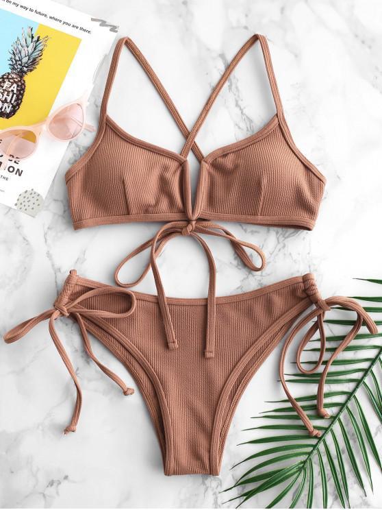 trendy ZAFUL Ribbed V Wired Criss Cross Bikini Set - LIGHT BROWN L