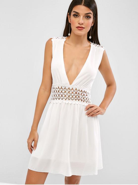fancy Sleeveless Plunge Crochet Trim A Line Dress - WHITE S