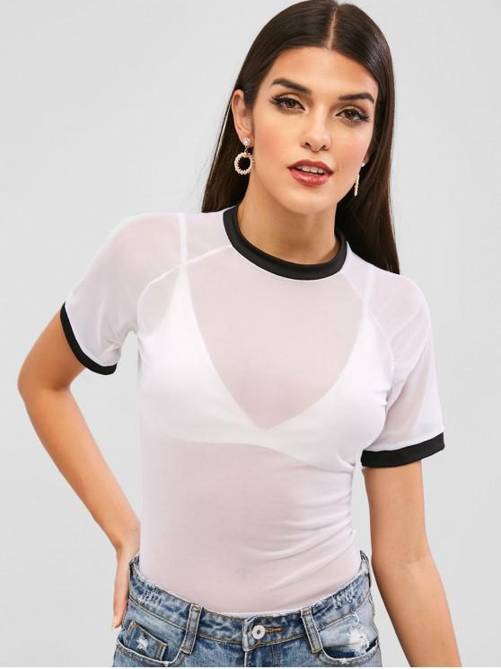 latest Ragan Sleeve Mesh Sheer Ringer T-shirt - WHITE XL