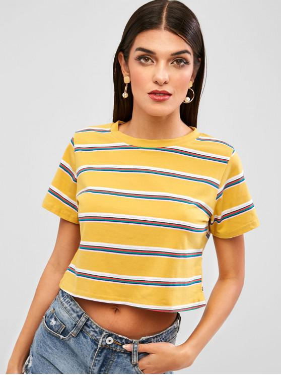 affordable Striped Short Sleeves Crop Tee - GOLDENROD XL
