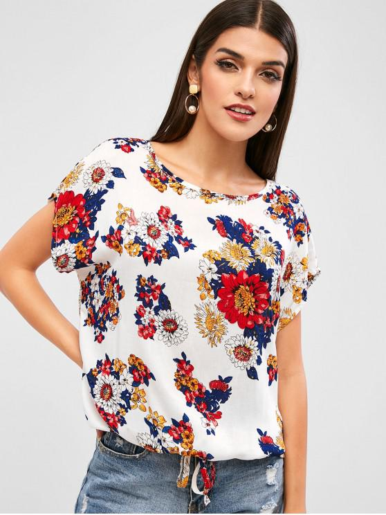 women Drawstring Short Sleeve Floral Top - WARM WHITE S